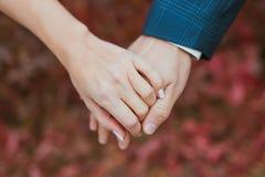 Les amants couplent tenir des mains Photographie stock libre de droits
