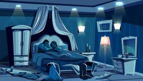 Les amants dorment dans des lampes de nuit de chambre à coucher de vecteur de lit illustration libre de droits