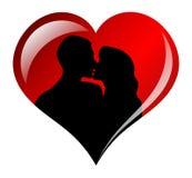 Les amants silhouettent dans la trame de coeur Images stock