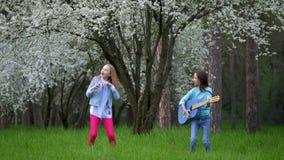 Les amies d'enfants en bas âge ont la danse d'amusement chantant et jouant l'arbre de floraison de printemps bleu de guitare acou banque de vidéos