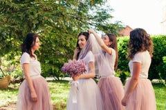 Les amies habillent le voile nuptiale à la jeune mariée Images stock