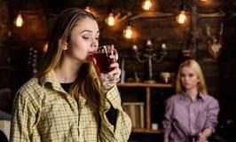 Les amis apprécient le vin chaud en atmosphère chaude, intérieur en bois Filles détendant et buvant du vin chaud Amis dessus Photographie stock libre de droits