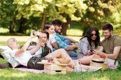 Les amis avec des smartphones sur le pique-nique à l'été se garent Photo libre de droits
