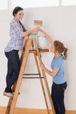 Les amis avec le pinceau et peuvent sur l'échelle dans une nouvelle maison Image libre de droits