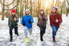 Les amis en hiver se garent à l'au sol de sports Image libre de droits