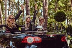 Les amis féminins à la mode joyeux soulèvent leurs mains tout en se reposant dans la voiture de luxe de cabriolet en parc Photos stock