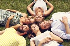 Les amis groupent avoir l'amusement ensemble sur l'herbe Images libres de droits