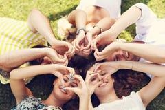 Les amis groupent avoir l'amusement ensemble sur l'herbe Image stock
