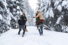 Les amis groupent la neige espiègle Forest Young People Outdoor de deux couples Images stock