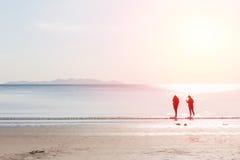 Les amis marchant en mer échouent le concept d'amitié Image stock