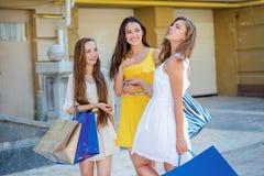 Les amis marchent ensemble Filles tenant les paniers et la promenade sur t Photos stock