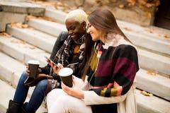 Les amis multiraciaux s'asseyant en parc d'automne, parlant et portent la Co Image stock