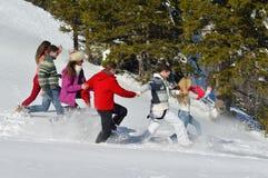 Les amis ont l'amusement à l'hiver sur la neige fraîche Images stock