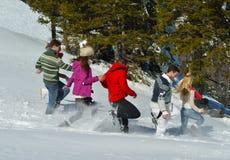 Les amis ont l'amusement à l'hiver sur la neige fraîche Photographie stock libre de droits
