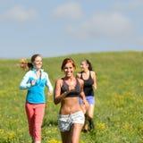 Les amis ont plaisir à courir par le pré ensoleillé Image libre de droits