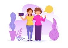Les amis prennent le vecteur de selfies cartoon Art d'isolement sur le fond blanc illustration stock