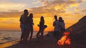 Les amis s'approchent de la mer au coucher du soleil banque de vidéos