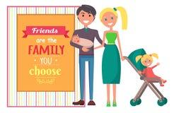 Les amis sont famille que vous choisissez l'affiche de graphique de vecteur Photographie stock