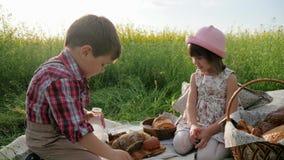 Les amis sur la pelouse verte, les enfants au pique-nique, le garçon et la fille avec la nourriture sur la nature, enfants heureu banque de vidéos