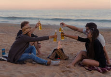 Les amis sur la plage font la fête l'alcool potable et font tinter des verres Image libre de droits
