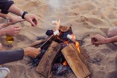 Les amis sur une plage sauvage ont allumé un feu et des guimauves de friture Images libres de droits