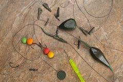 Les amorces, crochets, platines, ledcor se prépare à la pêche de carpe Copiez la pâte Photographie stock libre de droits
