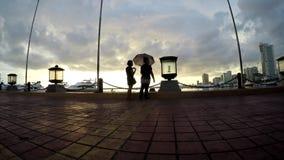 Les amoureux datant à la baie de bord de la mer marchent dans le parapluie silhouettes banque de vidéos
