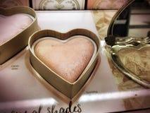 Les amoureux trop faits face de cosmétiques de marque rougissent Images libres de droits