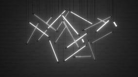 Les ampoules blanches 3D de lampe au néon rendent l'illustration illustration libre de droits