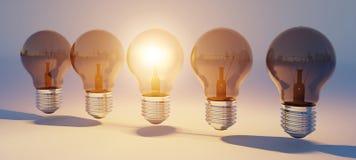 Les ampoules lumineuses ont aligné le rendu 3D Image libre de droits