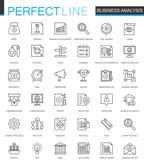 Les analytics d'affaires amincissent la ligne icônes de Web réglées Conception d'icônes de course d'ensemble de l'information de  Image libre de droits
