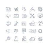 Les analytics de base de données et le vecteur de calcul de nuage rayent des icônes Photos stock