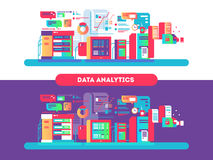 Les analytics de données conçoivent à plat illustration de vecteur