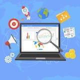 Les analytics plats colorés de Web d'illustration conçoivent, optimizati de SEO Image stock
