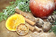 Les ananas d'or de pommes rouges de fond de Noël verdissent des pins et des fruits secs Photographie stock