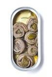 Les anchois roulés peuvent dedans image stock
