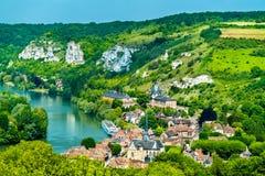 Les Andelys komuna na bankach wonton w Francja zdjęcia royalty free