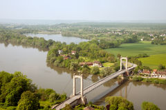 Les Andelys Suspension Bridge in France Royalty Free Stock Photography