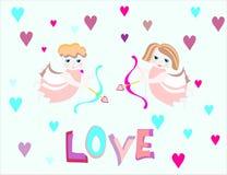 les anges de garçon et de fille volent avec l'arc Image stock