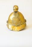 Les Anglais autre rangent le casque en laiton du feu de Merryweather, vue de face Photo stock