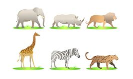African animals cartoon vector set. elephant, rhino, giraffe, cheetah, zebra, lion. safari isolated illustration - Images vectorie vector illustration