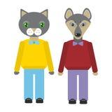 Les animaux de chat et de chien ont placé dans le style plat à la mode conception d'infographics de zoo Vecteur Image stock