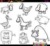 Les animaux de ferme ont placé livre de coloriage Photo libre de droits