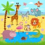 Les animaux de jungle de bébé et de zoo de safari dirigent le fond de nature illustration libre de droits