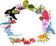 Les animaux de mer de bande dessinée avec le signe vide pour vous conçoivent Photographie stock