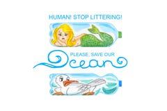 Les animaux de mer tristes dans des bouteilles en plastique sont peu satisfaits de la pollution d'océan Illustration d'aquarelle  illustration stock