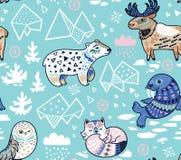 Les animaux du nord, l'iceberg géométrique et les montagnes dirigent le modèle Images libres de droits