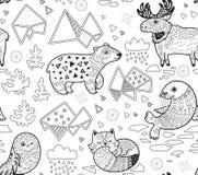 Les animaux du nord, l'iceberg géométrique et les montagnes dirigent le modèle dans le contour Image stock