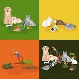 Les animaux familiers à la maison réglés, hamster de poisson rouge de perroquet de chien de chat, ont domestiqué des animaux Photo stock