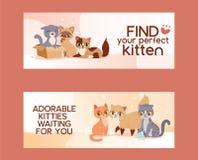 Les animaux familiers adoptent l'illustration d'affiche d'amitié de découverte Banni?res d'adoption de chaton et de chat d'amour illustration libre de droits